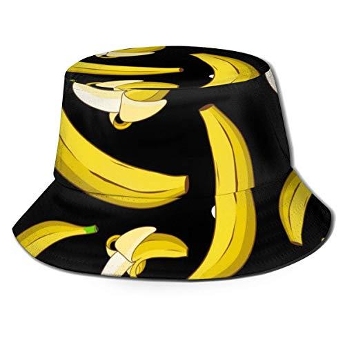 Amarillo Plátanos Negro Unisex Sombreros de Cubo al Aire Libre Gorras de Pescador de protección Solar de ala Ancha