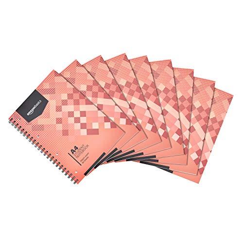 Amazon Basics - Quaderno con rilegatura a spirale, 80 fogli (160 pagine), formato A4, 90 g/m², (confezione da 10)