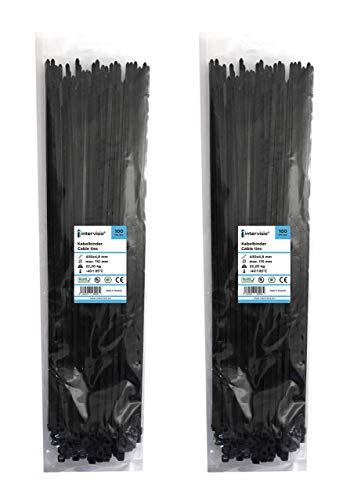 intervisio Kabelbinder Lang 430mm x 4,8mm, schwarz, 200 Stück