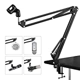 Microphone Suspension Mic Clip Adjustable Boom Studio Scissor Arm Stand For Blue Yeti Snowball, Constructed With Premium Quality Metals For Professional Streaming, Voice-Over, Recording,Games