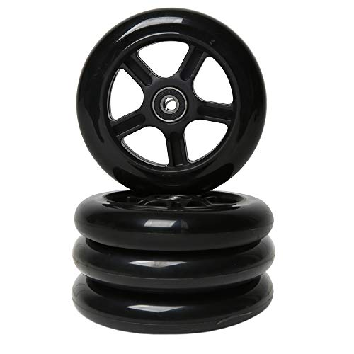 FREEDARE Scooter Replacement Wheels with Bearings Scooter Wheels 120mm 4PCS(Black&Black Five Star)