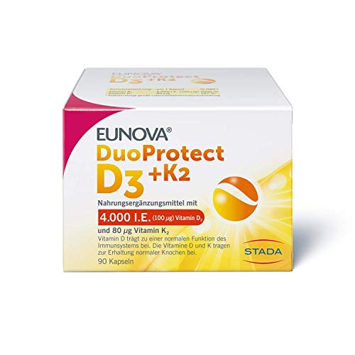 EUNOVA DuoProtect D3 + K2 4000 I.E. - Nahrungsergänzungsmittel für gesunde Knochen - 1 x 90 Kapseln