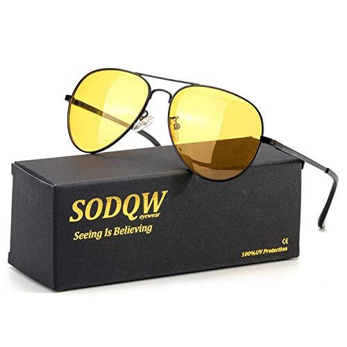 SODQW Aviator Night-Vision Driving Anti-Glare Glasses, HD Sight Polarized Yellow Night Guide Rainy Safe Glasses (Black Frame/Yellow Night-Driving Glasses)