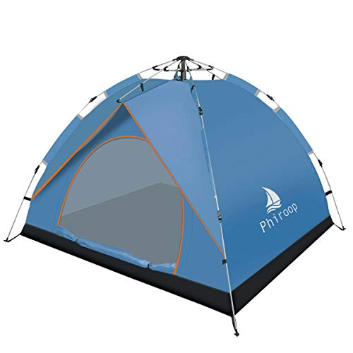 Phiroop Camping Tent Hydraulic Pop Up Automatic Instant for 2/3/4 Person Family Portable Lightweight Waterproof Essential Gear with Carry Bag & Rain Fly (Blue)