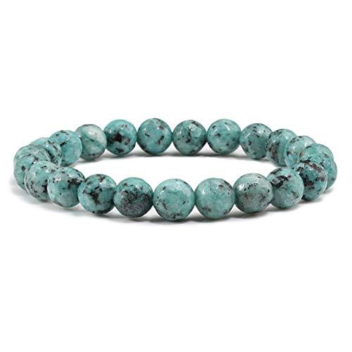 LDDJ Bracelet Vintage Natural Stone Gem Beaded Bracelet for Men Women Meditation Men Bracelets Bangles Yoga Prayer Beaded (Metal Color : Green Bodhi)