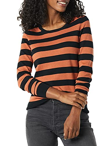 Amazon Essentials Lightweight Crewneck Sweater Suéter, Negro/Caramelo, Rayas, XL