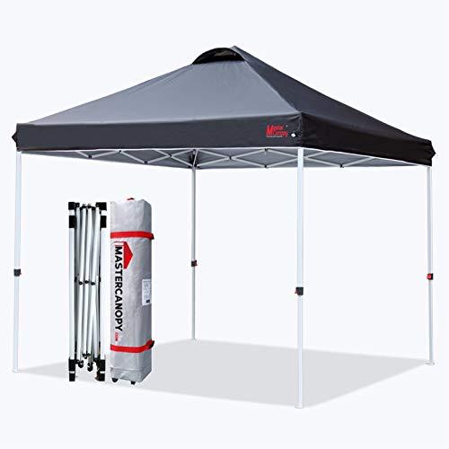 MasterCanopy Pop-up-Überdachungszelt Kommerzielle Sofortüberdachung mit Rolltasche,Sandsäcken x4, Zeltstangen X4,2.5x2.5M,Schwarz