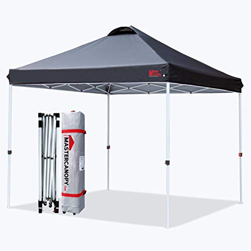 MASTERCANOPY Pop-up Canopy Tent Commercial Instant Canopy with Wheeled Bag,Canopy Sandbags x4,Tent Stakesx4 (10'x10',Black)