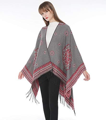 CHBY Bufanda Mujer de Punto Bufandas de Manta a Cuadros para Mujer Flor Gran mantón Mujer mantón Bufanda mantón Manta Fuera de casa-Gris