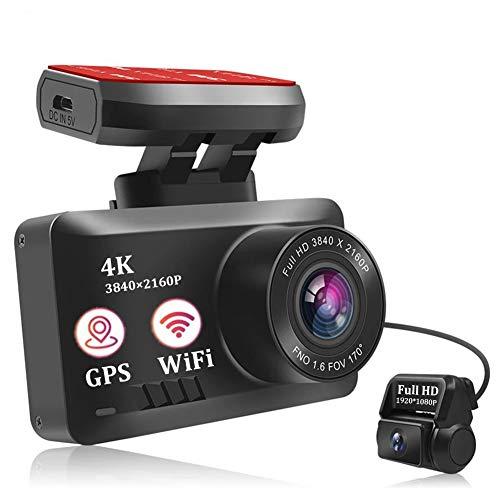 KUMADAI Dashcam Cámara Coche 4K WiFi GPS 2160P Dash CAM Delantera y 1080P Trasera Camara Vigilancia Dual Grabadora Cámara