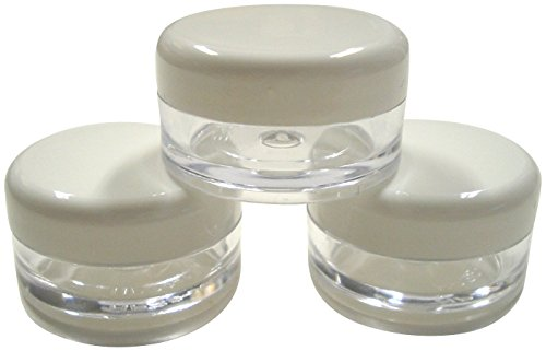5ml Empty Plastic Cosmetic Jars with WHITE Lids *MULTILISTING* for Creams/Sample/Make-Up/Glitter Storage (1) by Lucemill