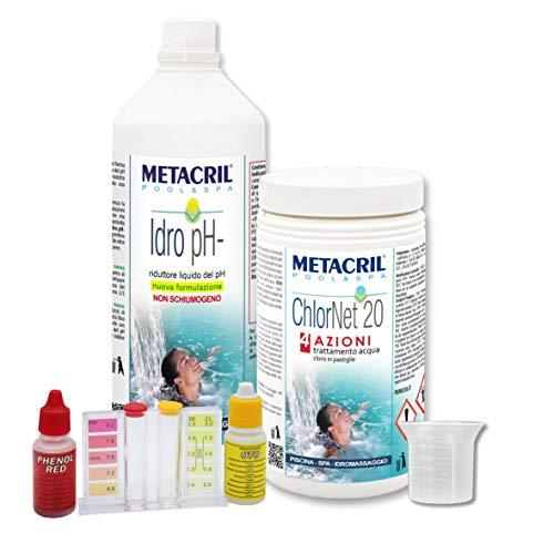 Metacril Starter Kit Cloro Multiazione + Riduttore PH Liquido.Trattamento Ideale per Piscina o Idromassaggio (Teuco,Jacuzzi,Dimhora,Intex,Bestway, ECC.). Spedizione IMMEDIATA