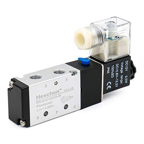 Heschen - Válvula solenoide neumática eléctrica 4V210-06 DC 12V PT 1/8 5 vías 2 Posición