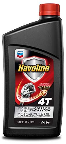 HAVOLINE Chevron Aceite de Motor para Motocicleta 4T MCO 20W50 API SL, Color Negro, 0.946 l (1QT)