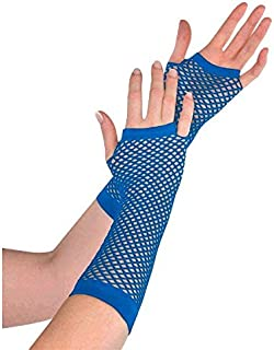 Amscan Fishnet Long Gloves, Party Accessory, Blue
