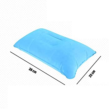 Premium Qualité 2 Pcs Oreiller Gonflable Voyage Coussin d'air Camping Plage Voiture Appuie-Tête Appui Bleu Clair Li-ly