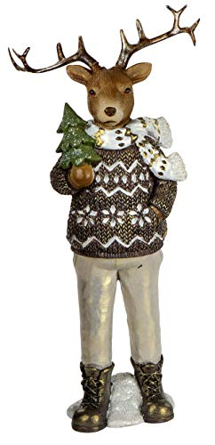 dekojohnson Rustikale Deko-Figur Hirsch Retro Weihnachtsdeko Naturgetreu Deko-Rentier Elch REH stehend Nostalgie-Deko Skulptur in grau braun Gold 38cm Winterdeko