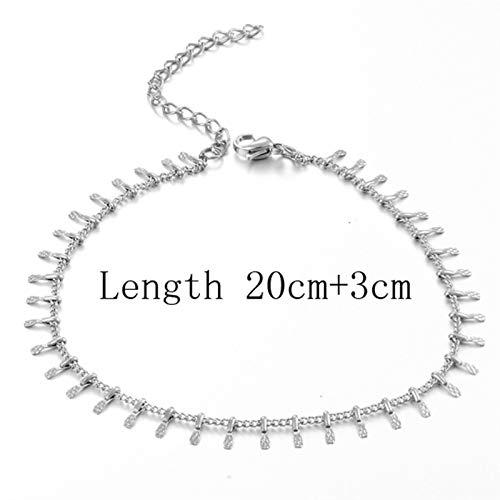 Sencillo y Elegante Joyas de Moda Tobillo de Acero Inoxidable para Regalo de joyería de Mujer (Metal Color : Style 7 Silver)