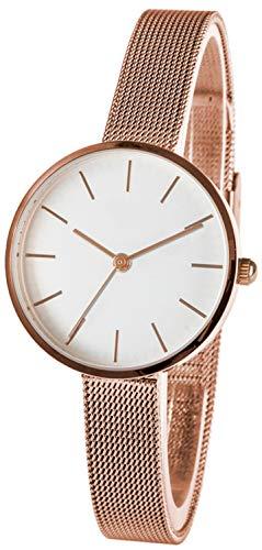 Reloj de pulsera para mujer de acero inoxidable, con correa de malla
