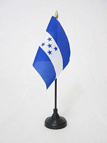 AZ FLAG Bandera de Mesa de Honduras 15x10cm - BANDERINA de DESPACHO HONDUREÑA 10 x 15 cm Punta Dorada