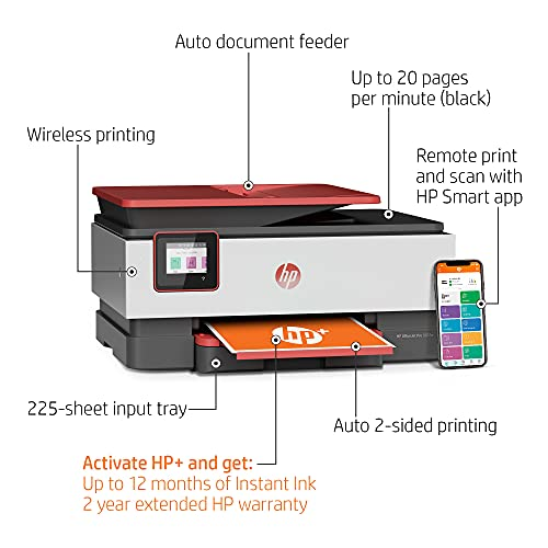 HP OfficeJet Pro 8035e Wireless Color All-in-One Printer (Coral) with up to 12 months Instant Ink with HP+ (1L0H8A)