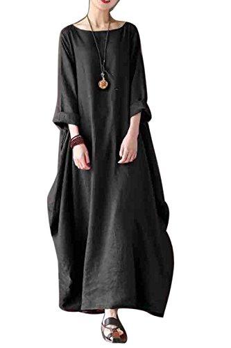 La Mujer Elegante Cuello Redondo En Algodón Y Lino, Baggy M