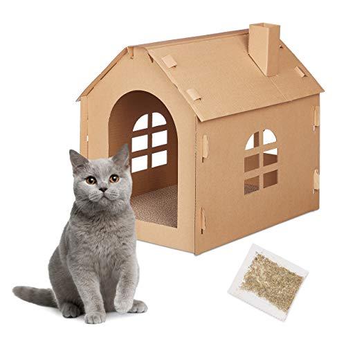 Relaxdays Katzenhaus Pappe, Katzenhöhle mit Kratzbrett, zum Zusammenbauen, inkl. Katzenminze, 46 x 36,5 x 42,5 cm, braun