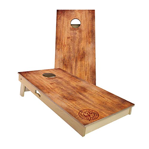 Slick Woody'S Burnt Wood Cornhole Set with 8 Cornhole Bags, Baltic Birch Plywood Tops for The Smoothest Flattest Playing Surface, Retractable Legs and Back Bounce Brace