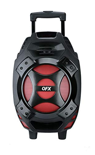 QFX PBX-61081BT/RD Portable Bluetooth Party Speaker, Red
