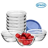 RUCKAE Glass Bowls With Lids For Kitchen Prep, Dessert, Dips, and Candy Dishes or Nut Bowls, 3.5 Inch,Set of 8