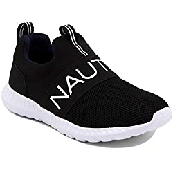 in budget affordable Nautica Kids Boys Sneakers Comfortable Sneakers-Canvey Youth-Black Knit-2