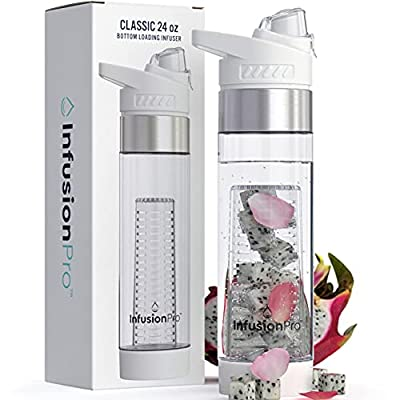 Infusion Pro 24 oz Fruit Infuser Water Bottle with Flavor Infuser - Insulated Sleeve & Fruit Infused Water eBook : Bottom Loading, Large Water Infuser for More Flavor : Flip Top with Large Spout for Work, Travel and Gym : Great Gift Water Bottles For Wome