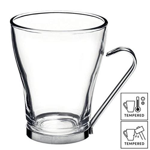Lot de 6 grands verres à café/thé/latte avec poignées en acier inoxydable, 32 cl