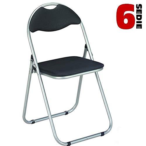 Bakaji Lot de 6 chaises rembourrées Pliantes Peu encombrantes Noir Structure Silver Chaise Métal