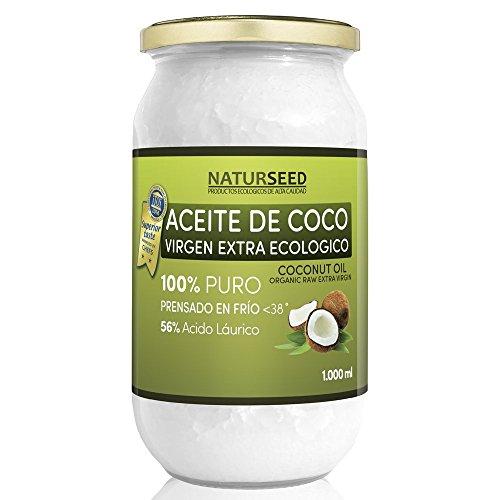 Huile de coco extra vierge bio 1.000 ml , Naturseed, ebook gratuit . Extraction à froid , source d'énergie naturelle pour les athlètes , la perte de poids , complément alimentaire , pour la cuisine , comme une crème hydratante pour vous et votre bébé , cheveux, aussi pour votre chien et le chat .