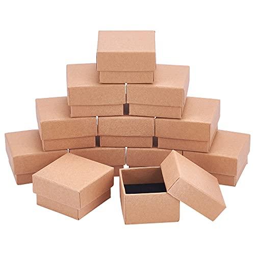 NBEADS 24Pcs Kraft Brown Square Karton Schmuck Ring Boxen Papier Einzelhandel Geschenkbox Für Jubiläen, Hochzeiten Oder Geburtstage, 5×5×3cm