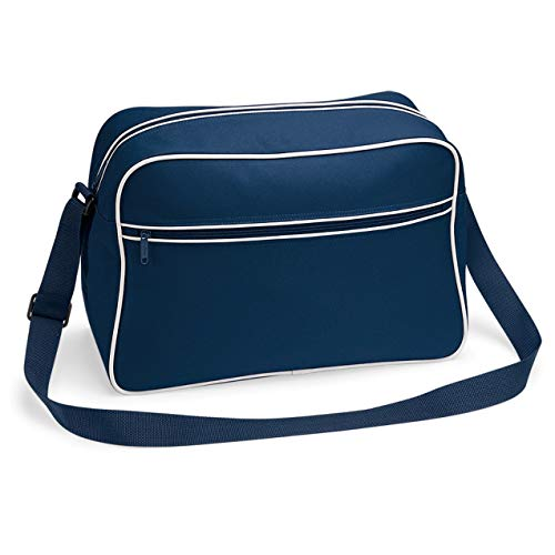 Retro Shoulder Bag im Design der Siebziger, Schultertasche Sporttasche aus Nylon mit Paspelierunginkl. gratis Schlüsselanhänger