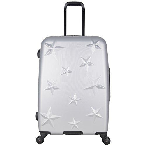 Aimee Kestenberg Women's Star Journey 24' Hardside 4-Wheel Spinner Checked Luggage, Metallic Light Silver
