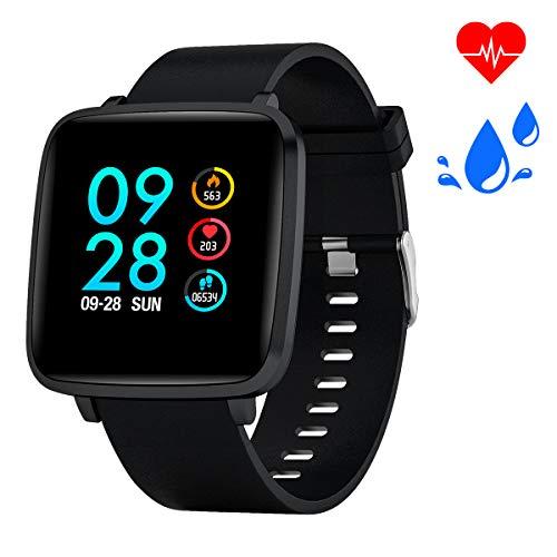 Bebinca Smartwatch,Fitness Armbanduhr Voller Touchscreen Fitness Uhr IP68 Wasserdicht Fitness Tracker Sportuhr mit Schrittzähler Pulsuhren Stoppuhr für iOS Android (Black
