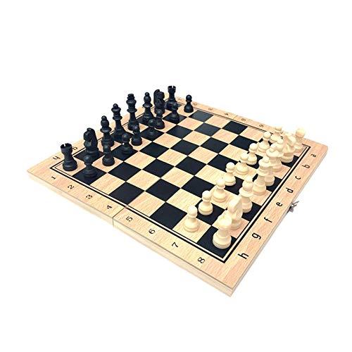 Juego de Ajedrez Tablero de Ajedrez Madera 3 en 1 Chess de ajedrez plegable Backgammon Conjunto de juegos de mesa disponibles en 4 tamaños amigos reuniendo juegos de entretenimiento Fiesta de la Famil