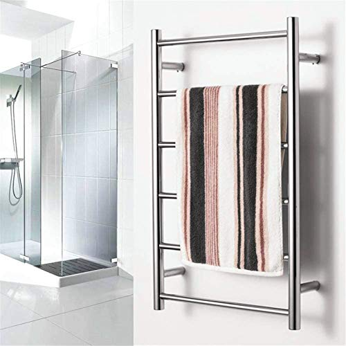 Radiadores de baño Calentador de toalla montado en la pared, estante de toalla de baño de acero inoxidable Toalla de toalla de estante con 6 barras con calefacción para baño 800x500x120mm, plugin