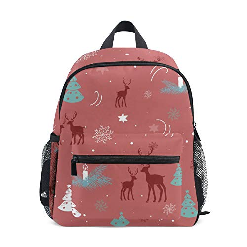 Mochila para niños con diseño de árbol de Navidad, color rojo