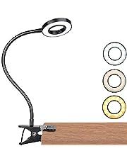 Led-klemlamp, dimbare leeslamp, klembevestiging, oogbescherming, bedlamp met 3 lichtmodi en 10 helderheidsniveaus, USB-voeding, draagbaar, flexibel, zwanenhals, leeslamp voor slaapkamer, kantoor, 7 W, zwart