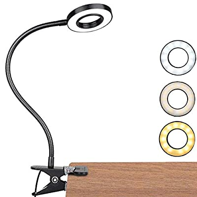 【3 Modos De Iluminación y 10 Niveles De Brillo】 Esta lámpara de escritorio tiene tres modos de iluminación. El blanco cálido es adecuado para la relajación y el sueño, el modo de luz diurna es adecuado para la lectura y el aprendizaje, y el blanco fr...