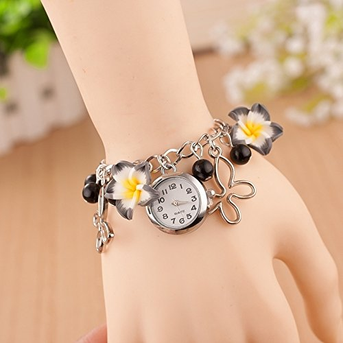 Lanbinxiang@ Paquete 3 Brazalete Flores Arcilla, Reloj