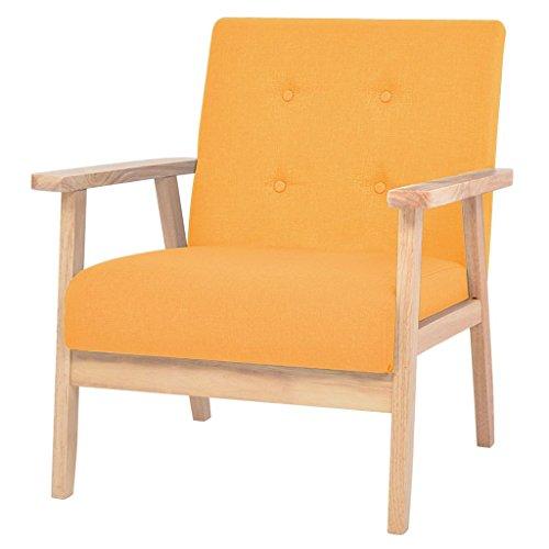 vidaXL Sillón Tela Amarillo Silla Butaca Asiento Sofá Mueble Mobiliario Salón