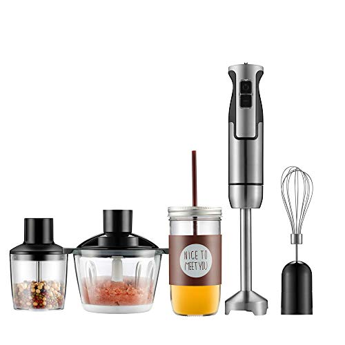 Amazing Deal Gaone Hand Immersion Blender 2 Speed Stick Mixer Heavy Duty Copper Motor Brushed Stainless Steel Finish One Button Operation Stainless Steel Whisk and 1000Ml Food Chopper 600W,M