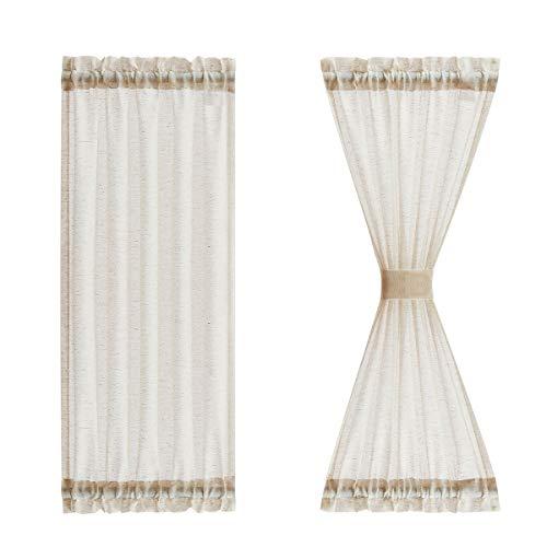 """Sheer Side Door Curtains 40"""" Natural Flax Blend Small Sidelight French Door Curtain Panels for Front Glass Door Patio Door Windows Rod Pocket Half Short Door Panels with Tiebacks, 25""""w x2 Panels"""