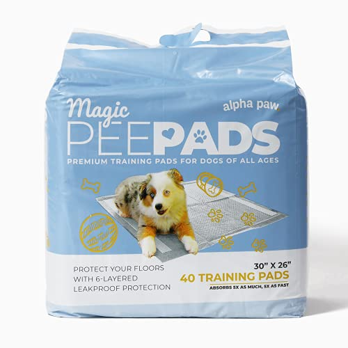 Alpha Paw Magic Pee Pads, Premium Puppy and Dog Training Accessories Pad with Quick-Dry Odor Control Carbon, 30 x 26 (XL, 40 Pack)