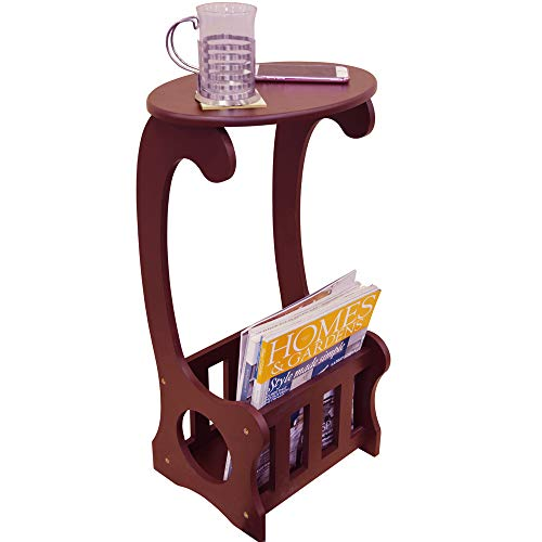 WATSONS ON THE WEB SCROLL - Side/End/Bedside Table with Magazine/Book Storage Rack - Dark